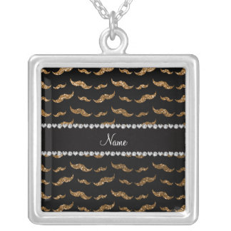 Personalized name gold glitter mustaches necklaces