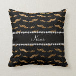 Personalized name gold glitter mustaches pillow