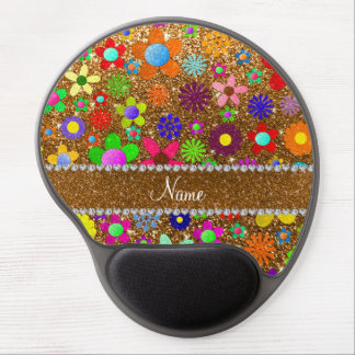 Personalized name gold glitter retro flowers gel mouse pad