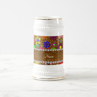 Personalized name gold glitter retro flowers beer stein