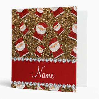 Personalized name gold glitter santas 3 ring binders