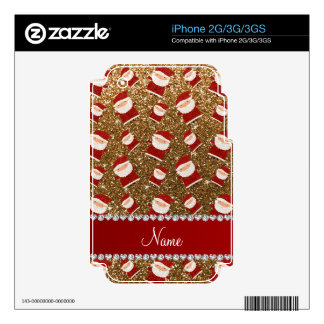 Personalized name gold glitter santas decal for the iPhone 3