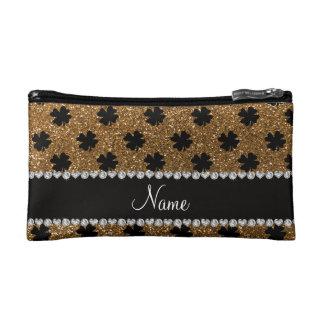Personalized name gold glitter shamrocks cosmetics bags