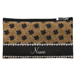 Personalized name gold glitter shamrocks cosmetic bag