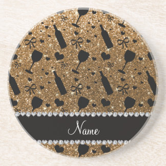 Personalized name gold glitter wine glass bottle drink coasters