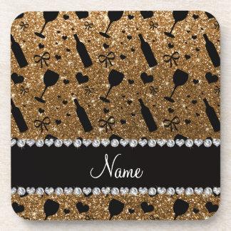 Personalized name gold glitter wine glass bottle coaster