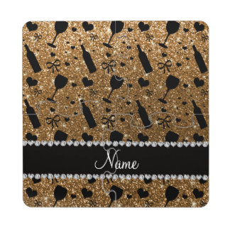 Personalized name gold glitter wine glass bottle puzzle coaster