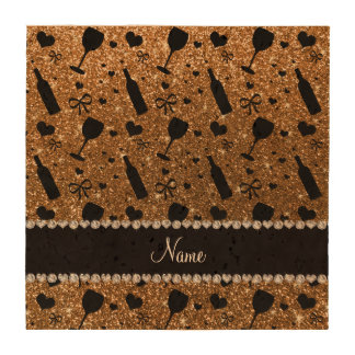 Personalized name gold glitter wine glass bottle beverage coasters