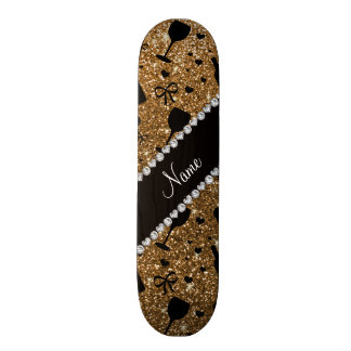 Personalized name gold glitter wine glass bottle skateboards