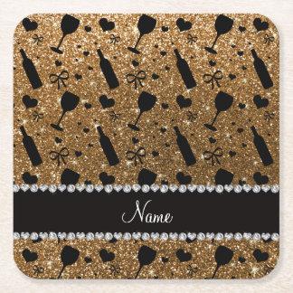 Personalized name gold glitter wine glass bottle square paper coaster