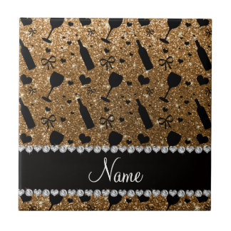 Personalized name gold glitter wine glass bottle ceramic tiles