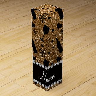 Personalized name gold glitter wine glass bottle wine box