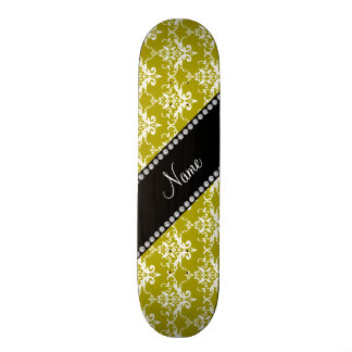 Personalized name gold white damask custom skate board