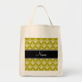 Personalized name gold yellow damask canvas bags