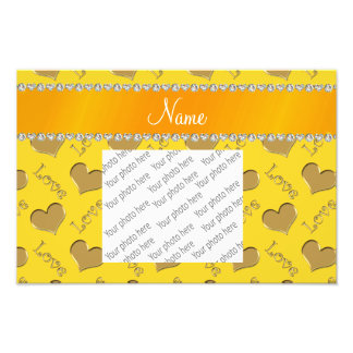 Personalized name gold yellow hearts love photo print