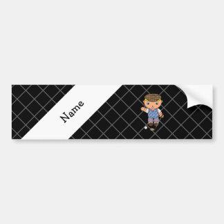 Personalized name golf player black criss cross car bumper sticker