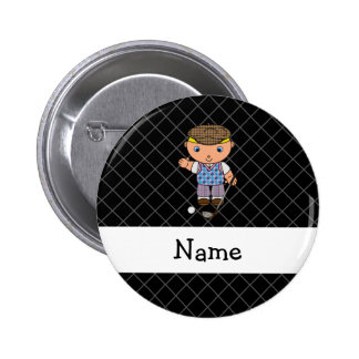 Personalized name golf player black criss cross button