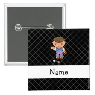 Personalized name golf player black criss cross pins