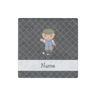 Personalized name golf player black criss cross stone magnet