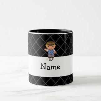 Personalized name golf player black criss cross Two-Tone coffee mug