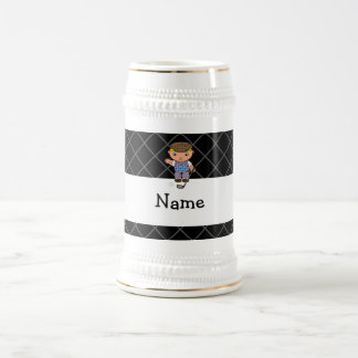 Personalized name golf player black criss cross 18 oz beer stein