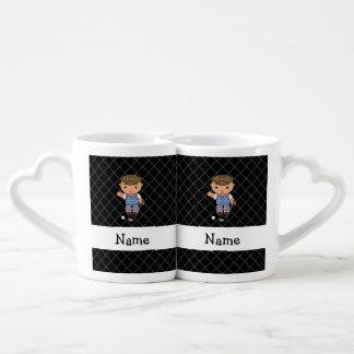 Personalized name golf player black criss cross couples' coffee mug set