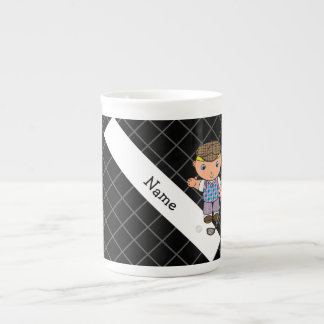 Personalized name golf player black criss cross tea cup