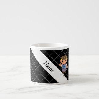 Personalized name golf player black criss cross 6 oz ceramic espresso cup