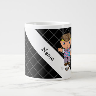 Personalized name golf player black criss cross 20 oz large ceramic coffee mug