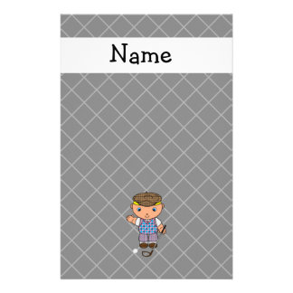 Personalized name golf player black criss cross stationery paper
