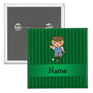 Personalized name golf player green stripes pins