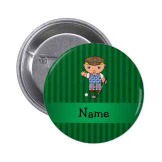 Personalized name golf player green stripes button