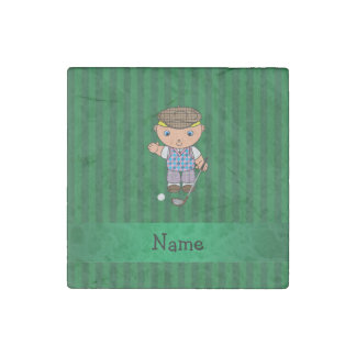 Personalized name golf player green stripes stone magnet