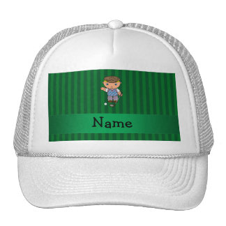 Personalized name golf player green stripes hats