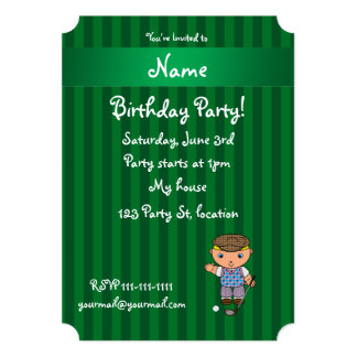 Personalized name golf player green stripes personalized announcement