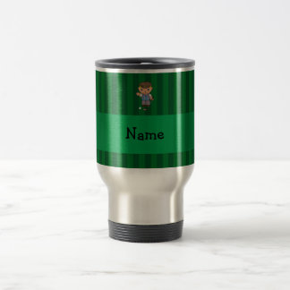 Personalized name golf player green stripes 15 oz stainless steel travel mug