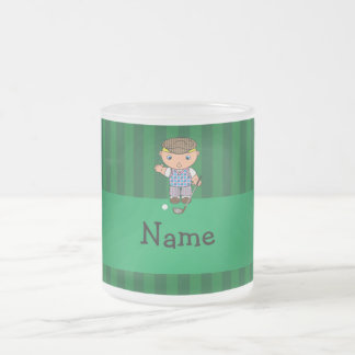 Personalized name golf player green stripes 10 oz frosted glass coffee mug