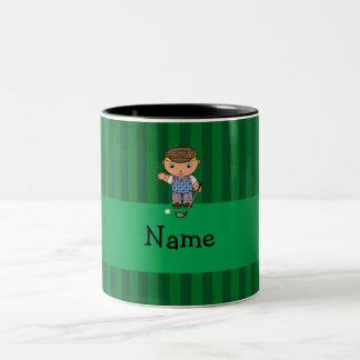 Personalized name golf player green stripes Two-Tone coffee mug