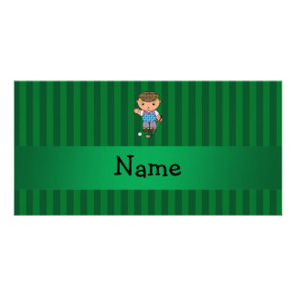 Personalized name golf player green stripes photo card template