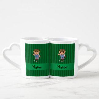 Personalized name golf player green stripes couples' coffee mug set