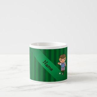 Personalized name golf player green stripes 6 oz ceramic espresso cup
