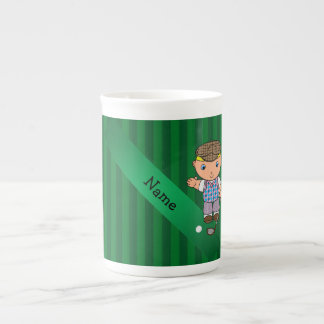 Personalized name golf player green stripes tea cup