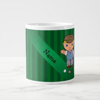 Personalized name golf player green stripes 20 oz large ceramic coffee mug