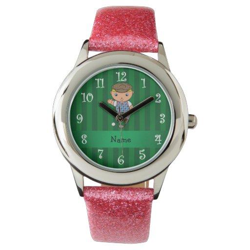 Personalized name golf player green stripes wristwatch