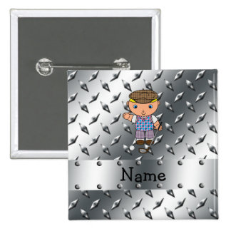 Personalized name golf player silver diamond plate button