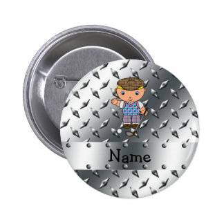 Personalized name golf player silver diamond plate pin