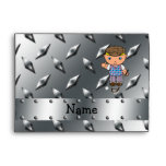 Personalized name golf player silver diamond plate envelope