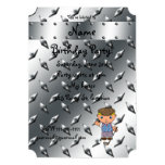 Personalized name golf player silver diamond plate custom invitation