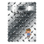 Personalized name golf player silver diamond plate invitation