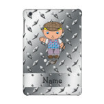 Personalized name golf player silver diamond plate iPad mini retina cases